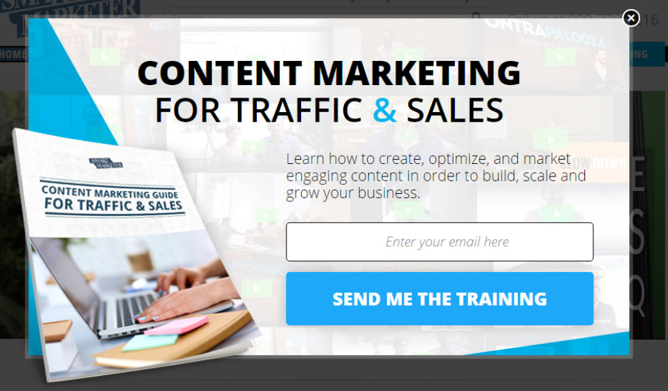 Popup des Content Marketing for traffic & sales