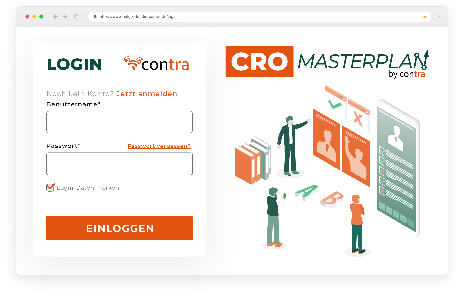 Screenshot des CRO Masterplan Logins
